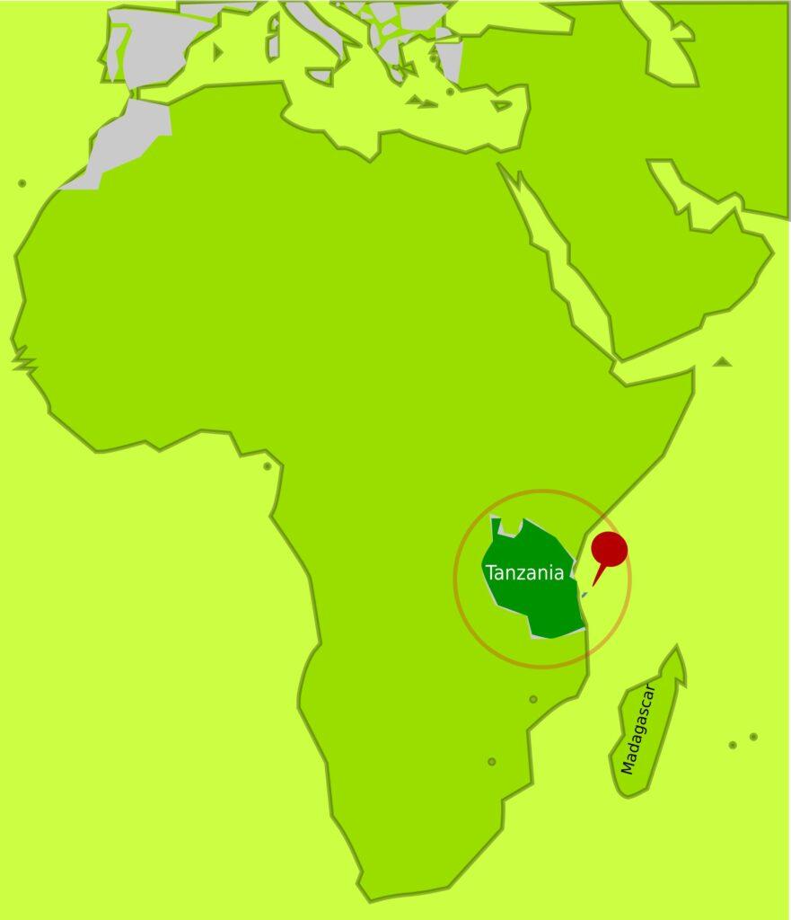 A map indicating where Mafia Island is.