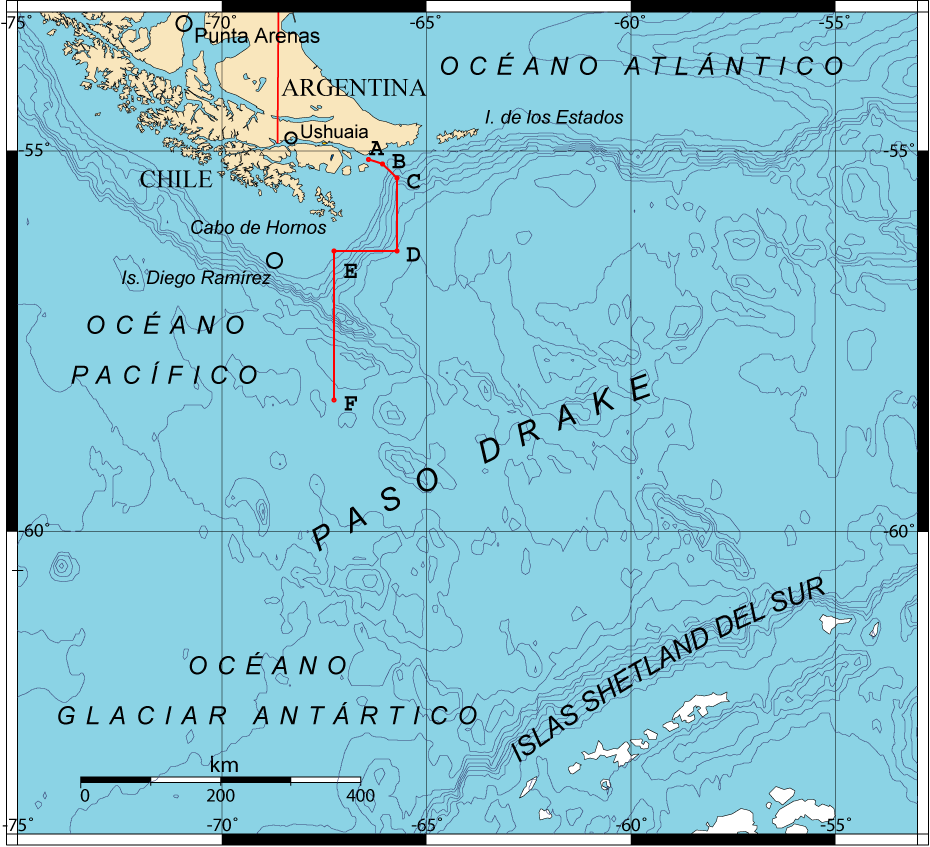 A map of Drake Passage between South America and the Shetland Islands