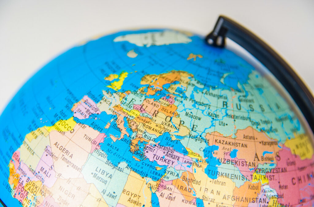 A map of Europe on a globe.