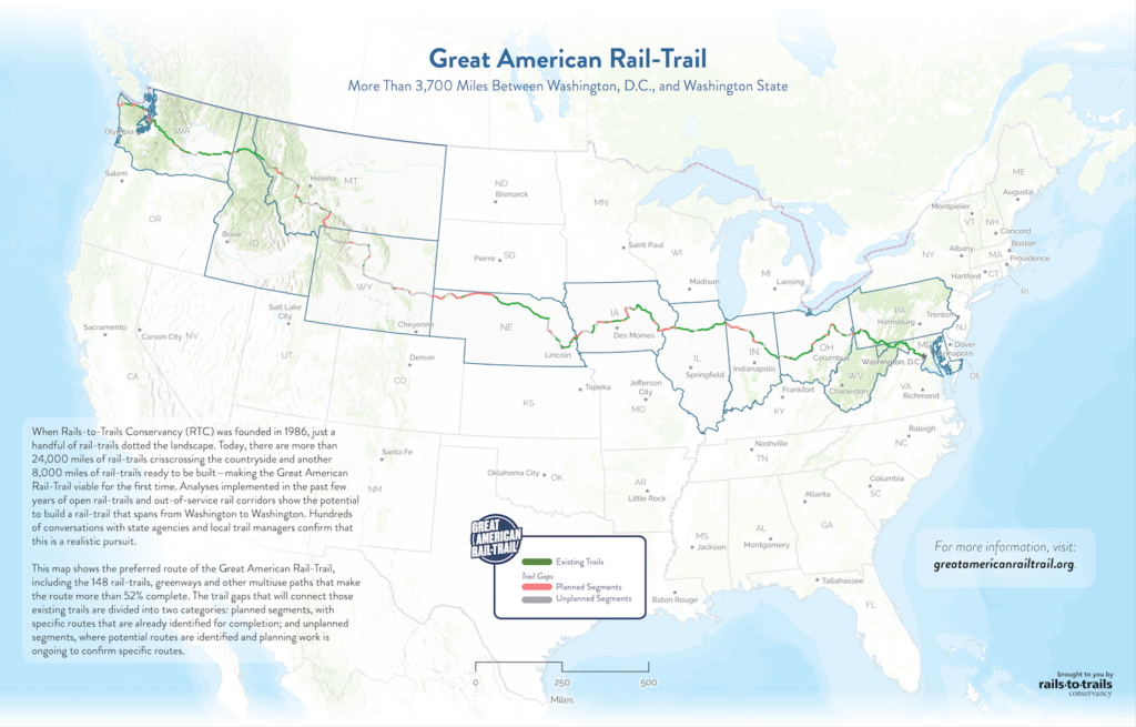 A map of the Great American Rail-Trail route.