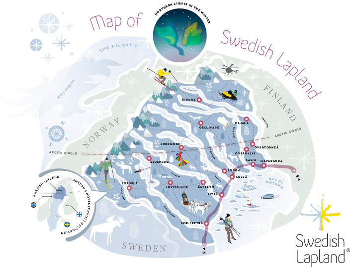 A map of the Swedish Lapland.