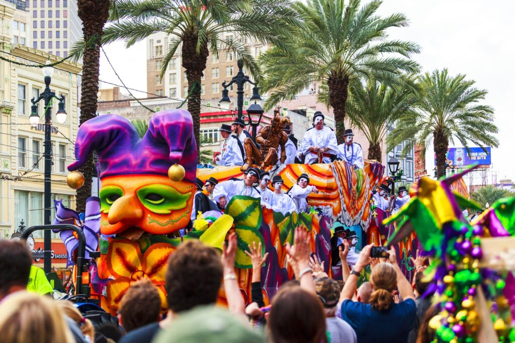 A Mardi Gras parade in New Orleans.