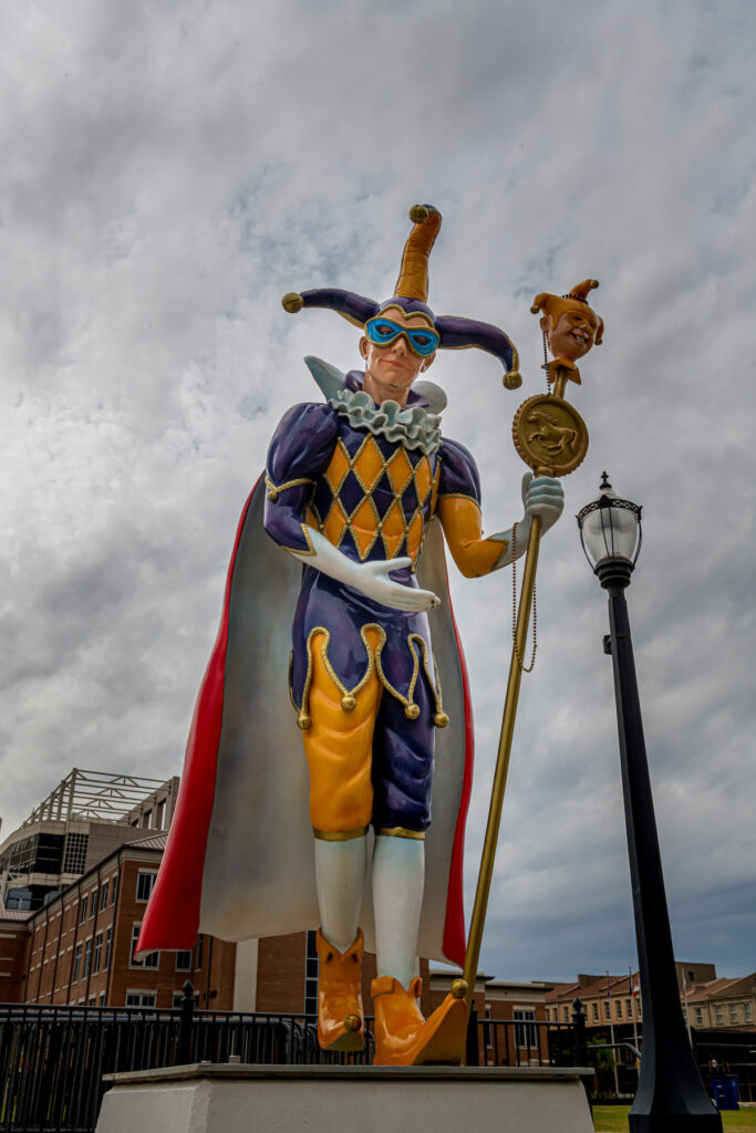 A Mardi Gras statue in Mobile, Alabama.