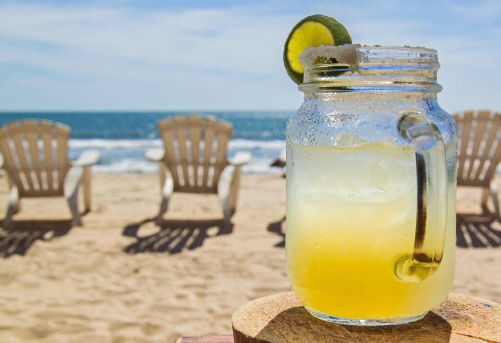 A margarita a the beach in Mexico.