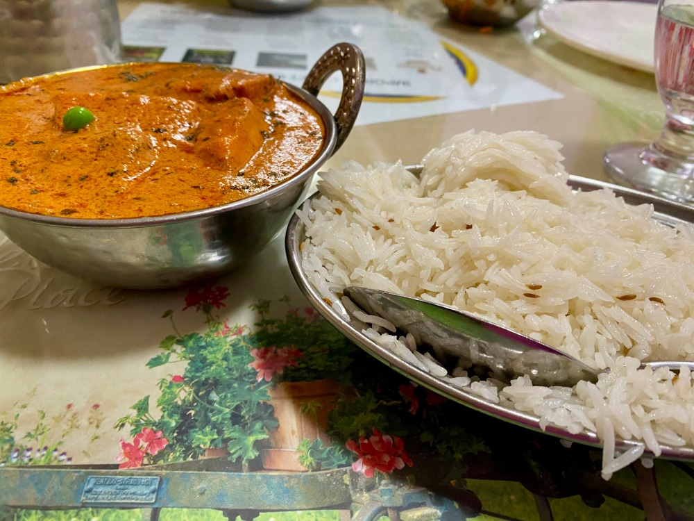 A meal from the Sitar Of India restaurant in Charleston.