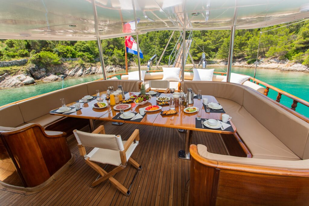 A meal on a boat off the coast of Croatia.