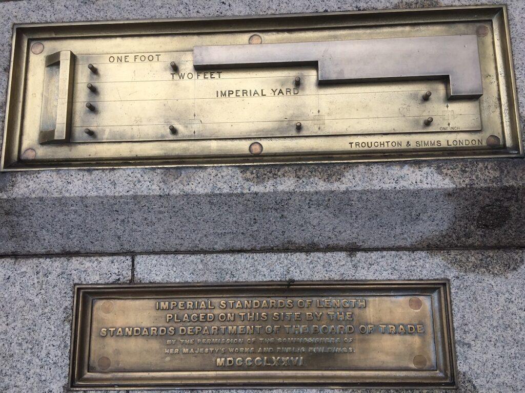 A measurement plaque in Trafalgar Square.