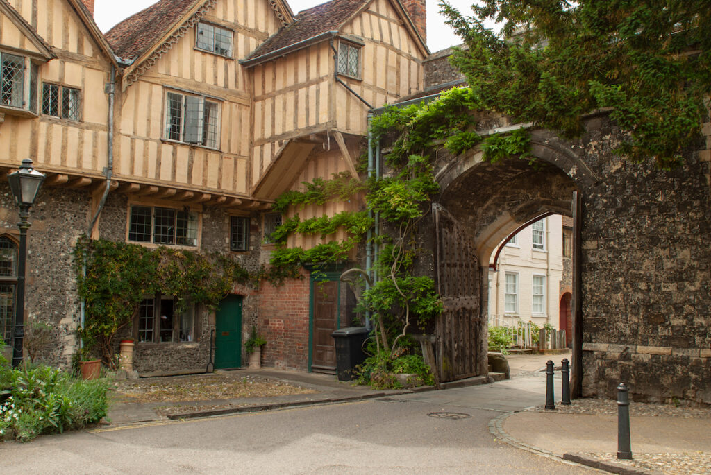 A medieval gate in Winchester, England.