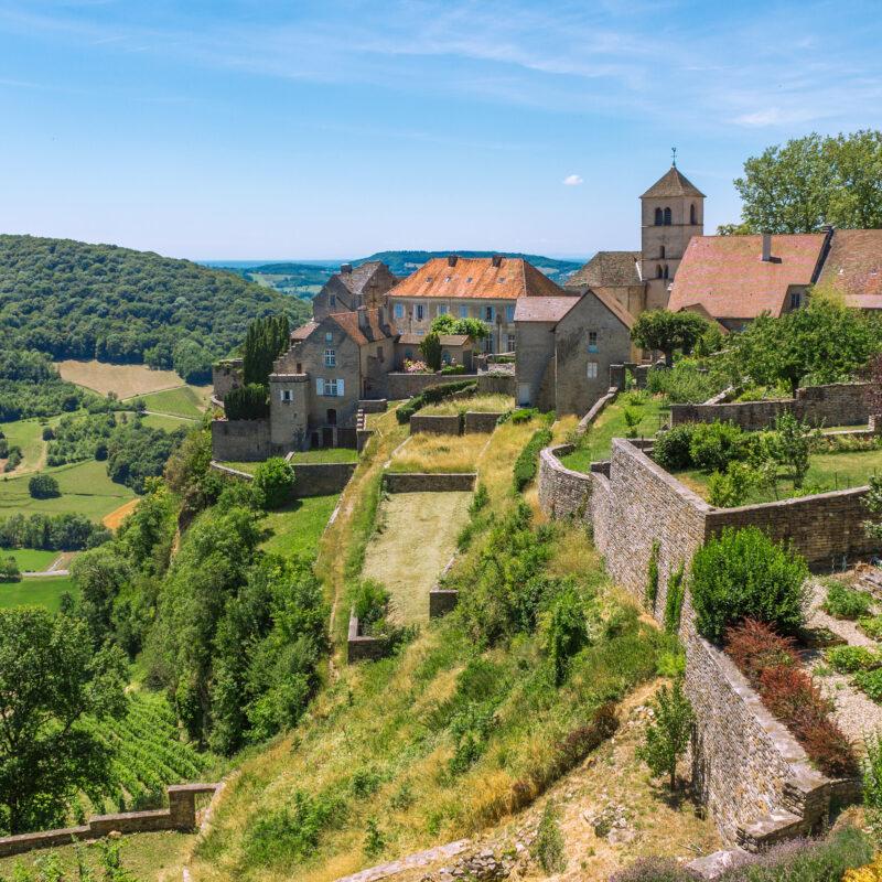 A medieval village in France's Jura wine region.