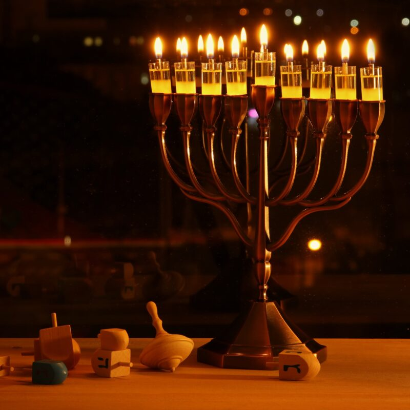 A menorah lit for Hannukkah.