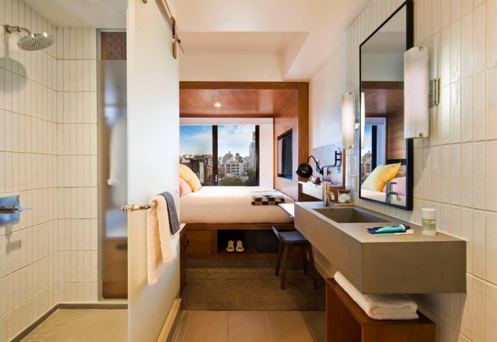 A micro-hotel room at Arlo SoHo.