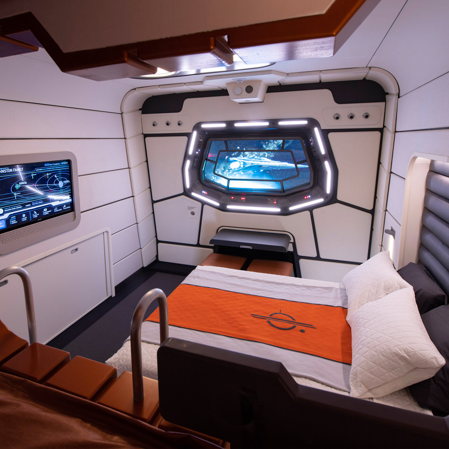 A mock-up of a cabin at Disney's Star Wars: Galactic Starcruiser.