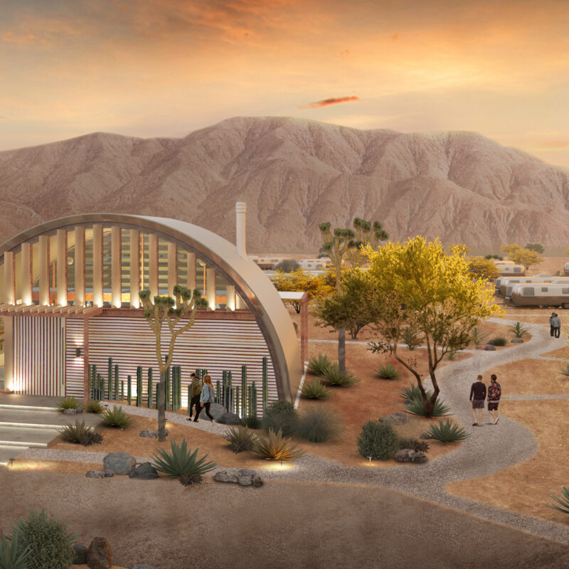 A mock-up of AutoCamp's new Joshua Tree glamping site.