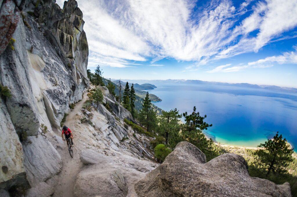A mountain biker on Flume Trail at Lake Tahoe.