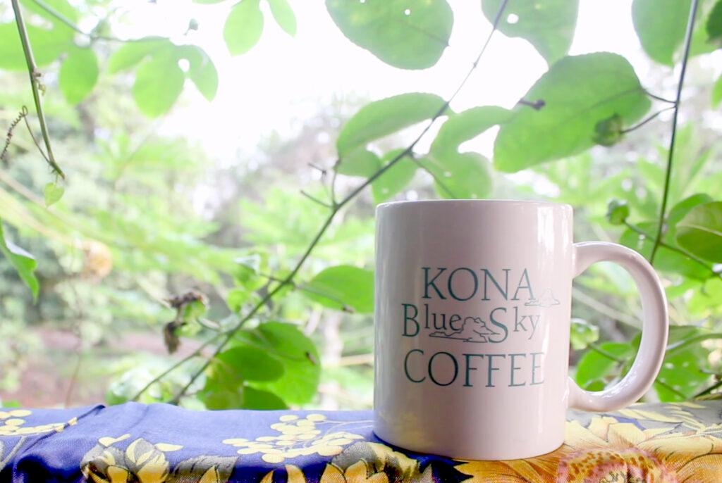 A mug from Kona Blue Sky Coffee.