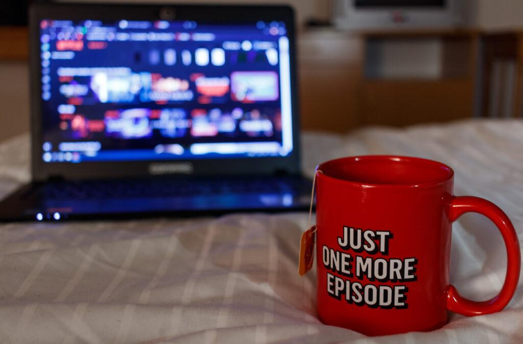A mug of tea and a laptop