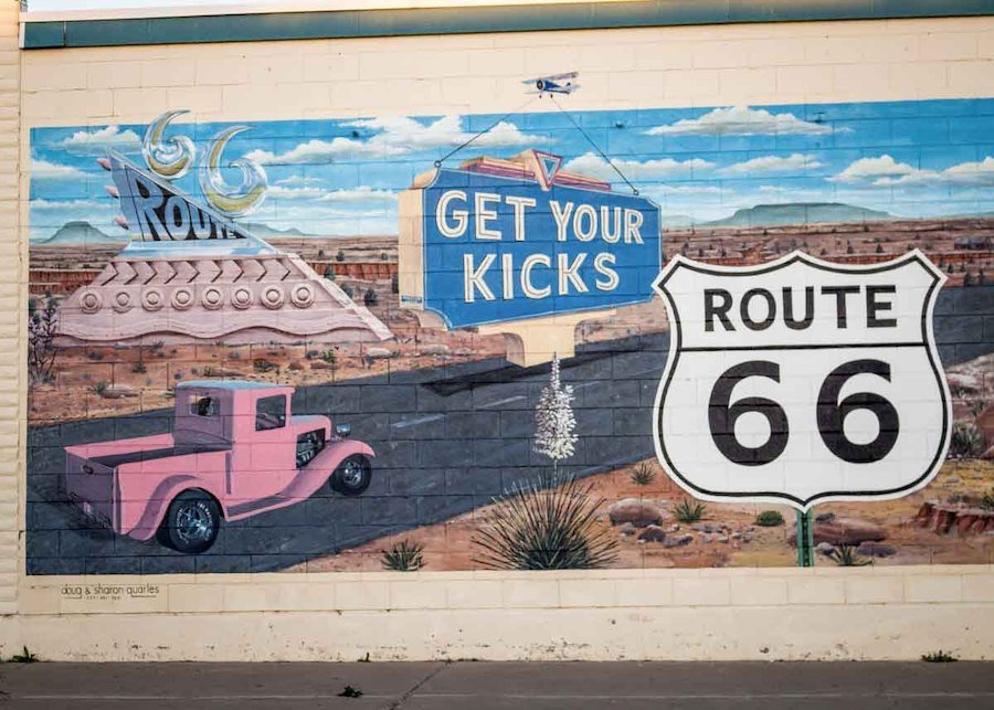 A mural at the New Mexico Route 66 Museum.