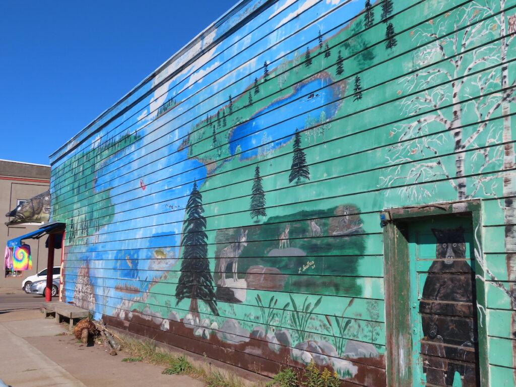 A mural in downtown Grand Marais, Minnesota.