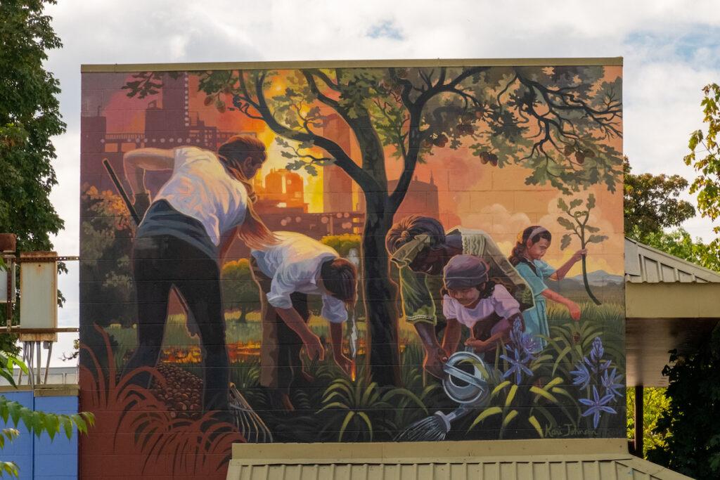 A mural in Eugene, Oregon.