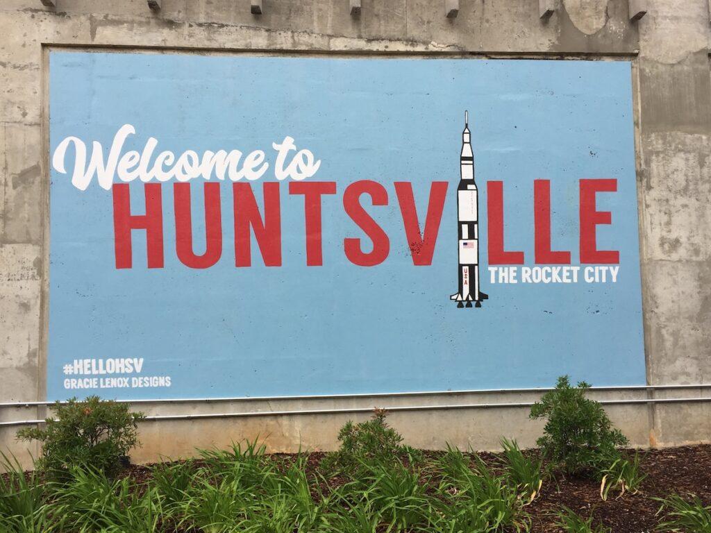 A mural in Huntsville, the Rocket City.