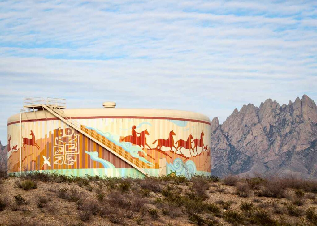 A mural on a water tower in Las Cruces.