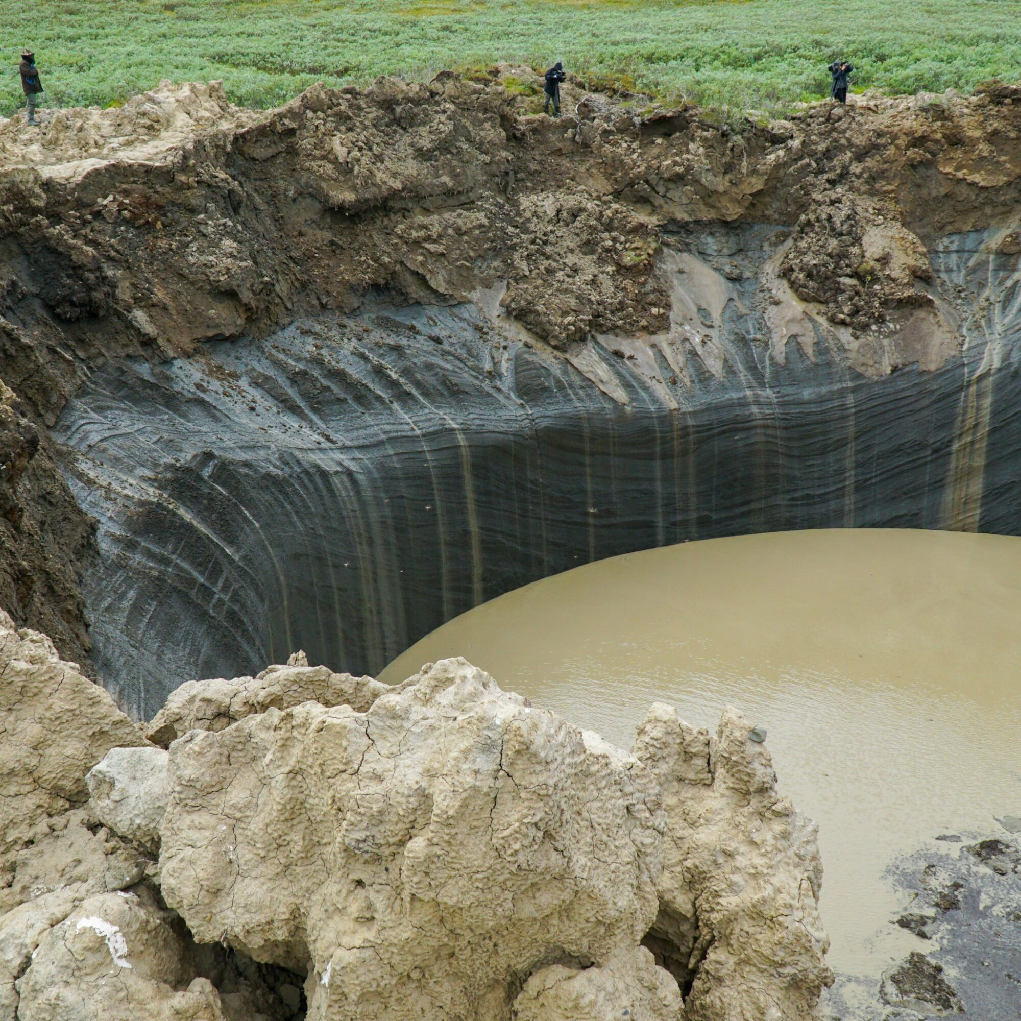 A mysterious crater in the Yamal Peninsula of Siberia.