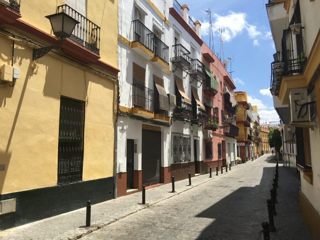 A narrow street in Seville, Spain