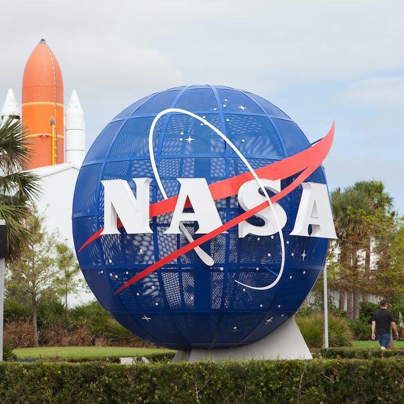 A NASA sign at Kennedy Space Center.