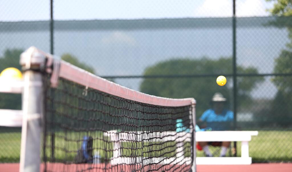 A net at a pickleball tournament.