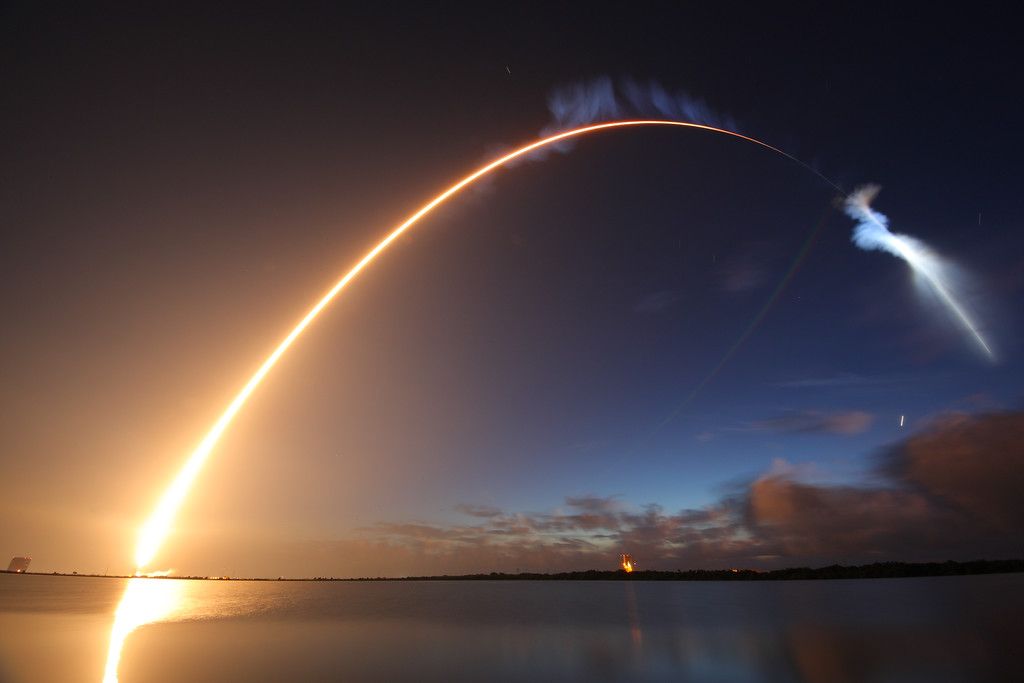A night launch from the Kennedy Space Center.