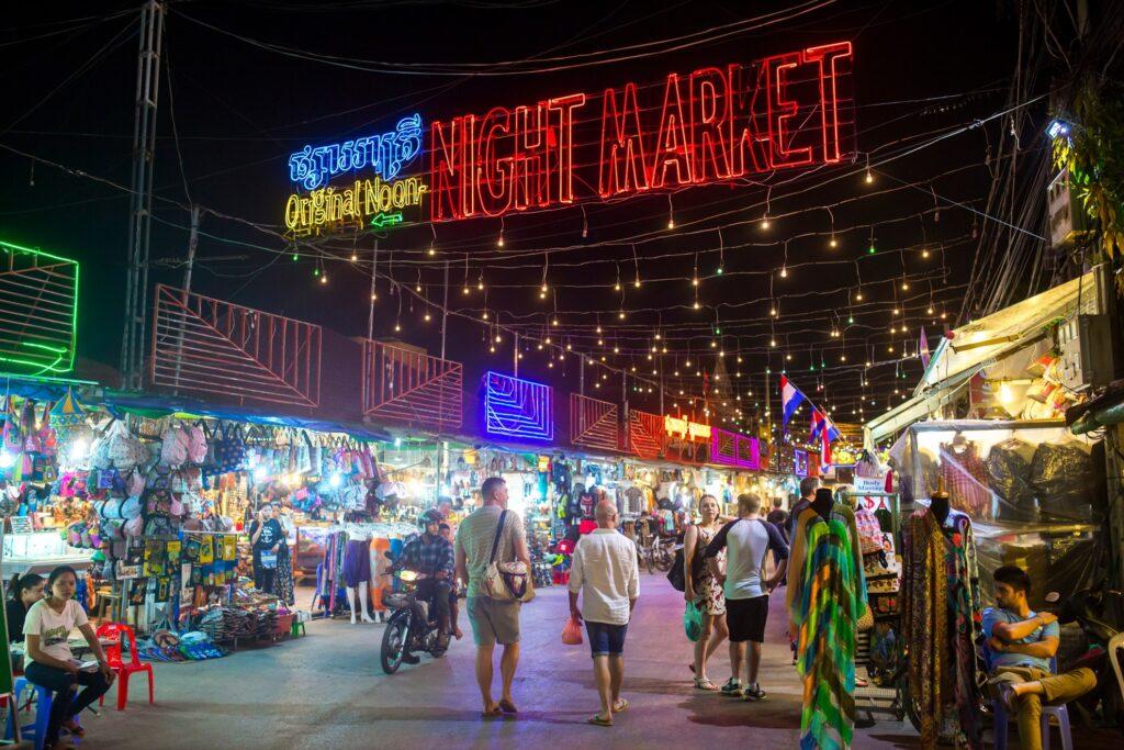 A night market in Siem Reap, Cambodia.