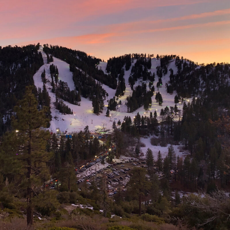 A night on the ski slopes at Mountain High Resort in Wrightwood, California.