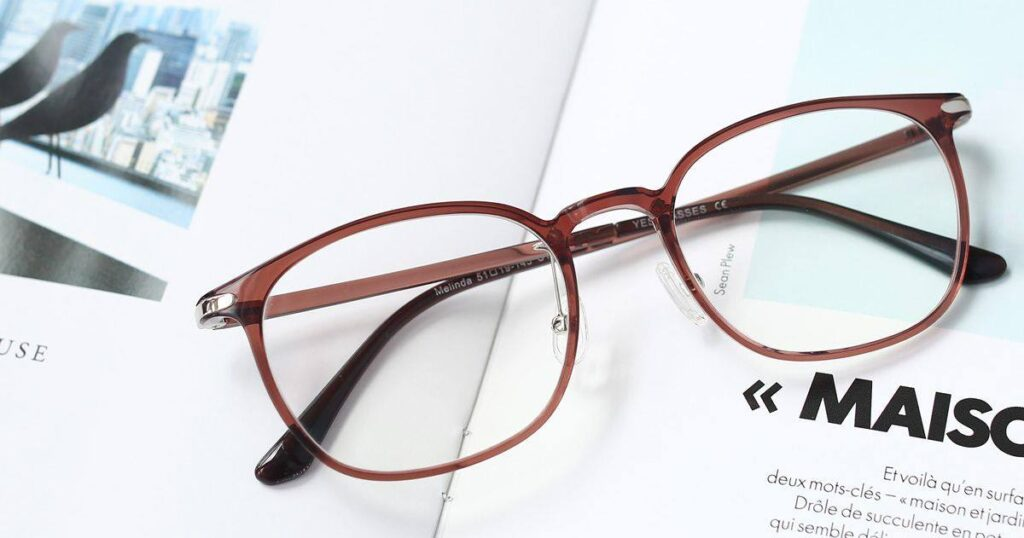 A pair of stylish prescription glasses from Yesglasses.