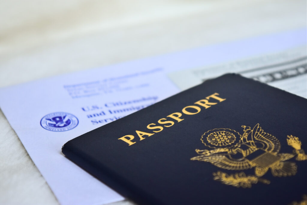 A passport and some customs papers.