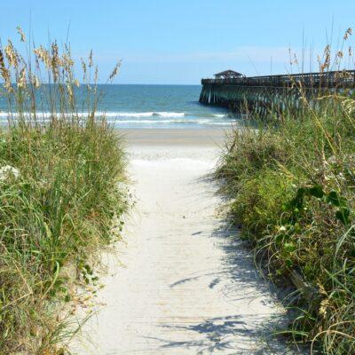 A path to the beach in Myrtle Beach, South Carolina.