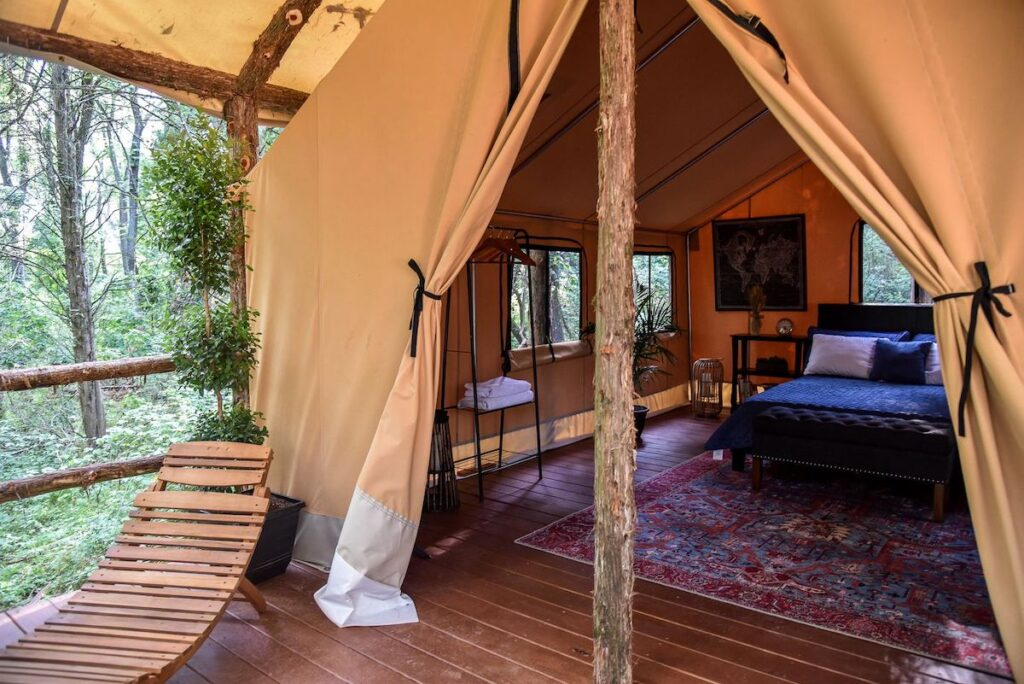A peek inside a safari-style tent.
