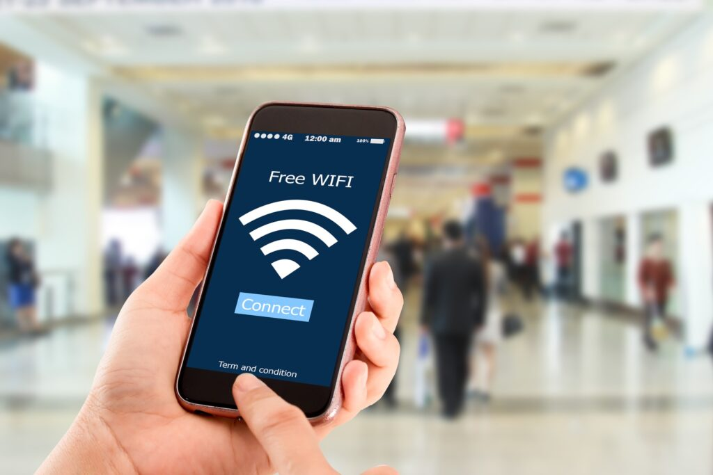 A person connecting to free public wifi.