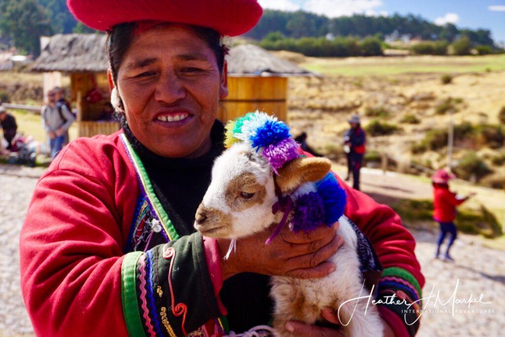 A Peruvian woman with a baby llama.
