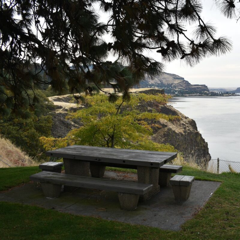 A picnic bench with a view.