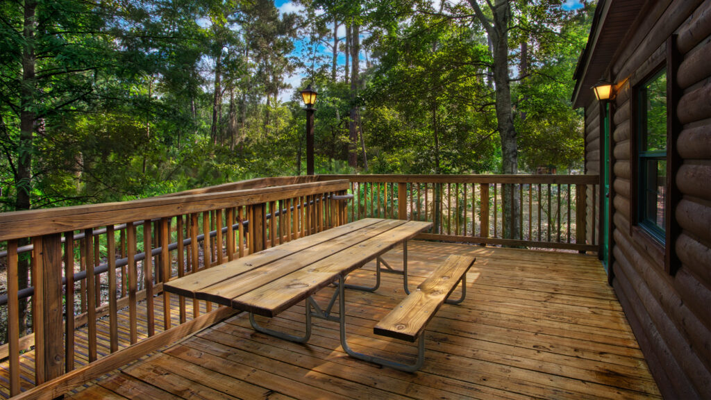 A picnic table at Disney's Fort Wilderness.