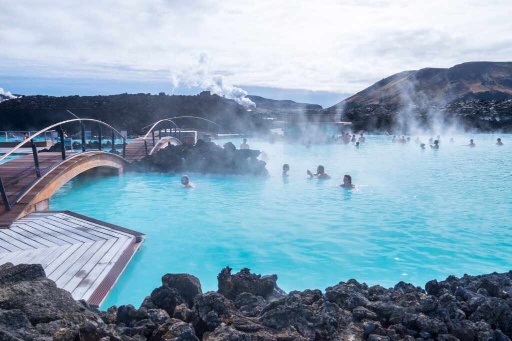 A picturesque bridge in the Blue Lagoon in Iceland.