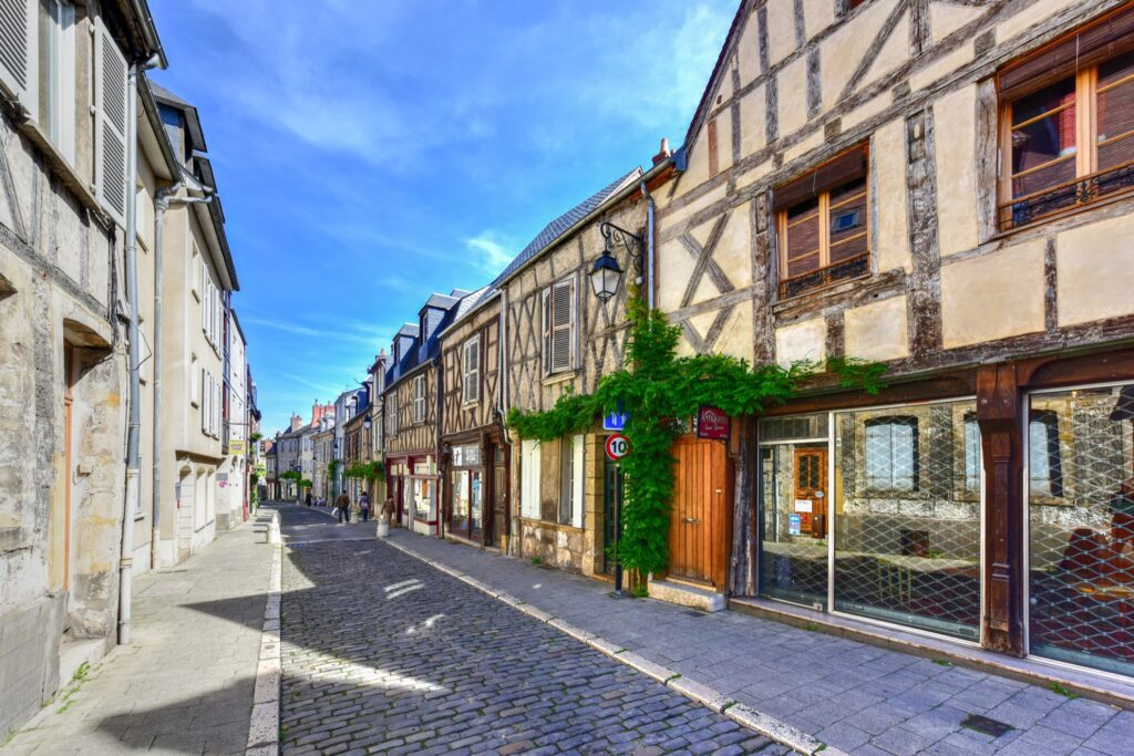 A picturesque street in Bourges, France.