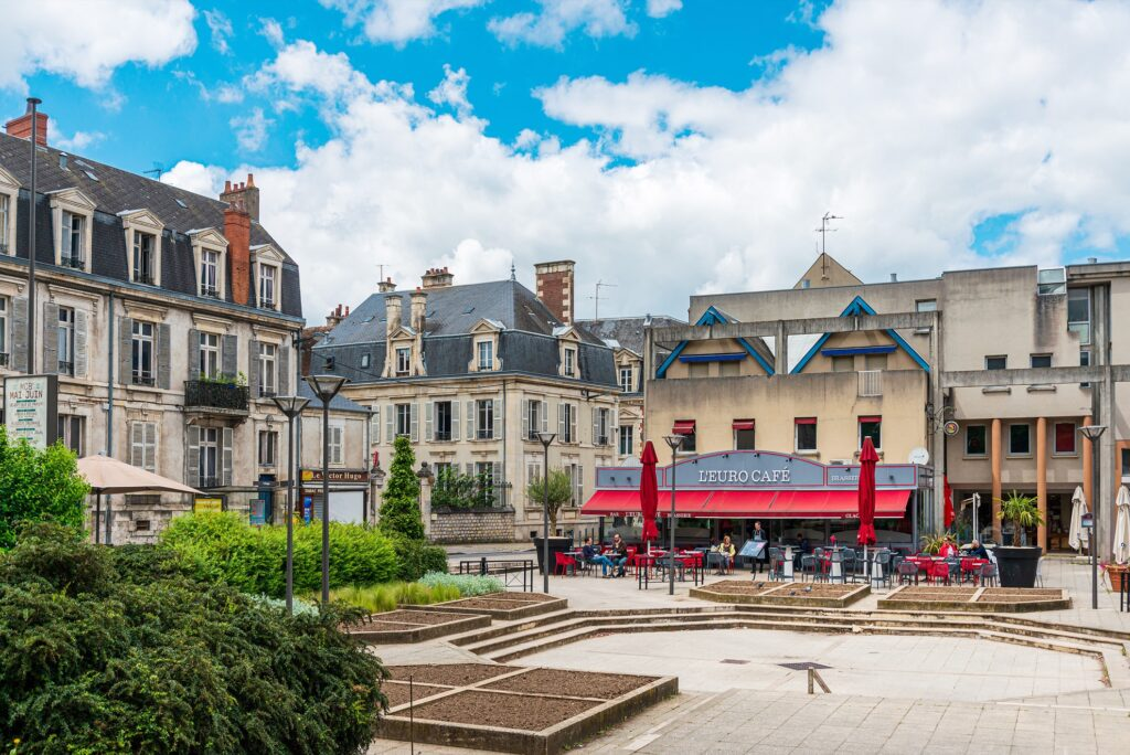 A picturesque town square in Bourges, France.