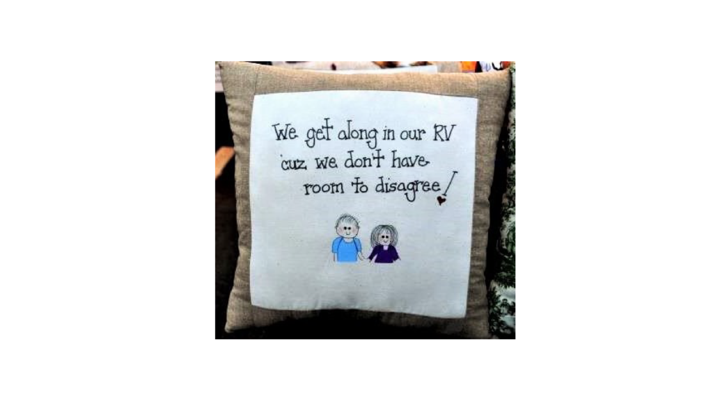 A pillow in the writer's RV.