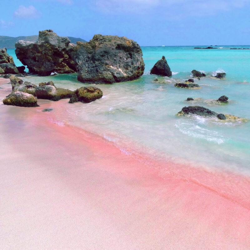 A pink sand beach in Crete, Greece.