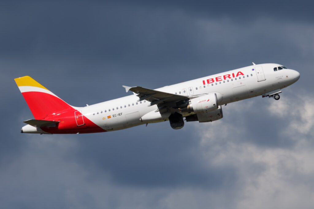 A plane from Iberia airlines.
