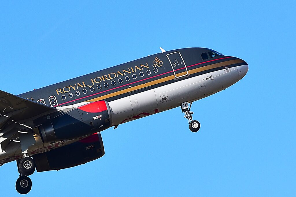 A plane from Royal Jordanian Airlines.
