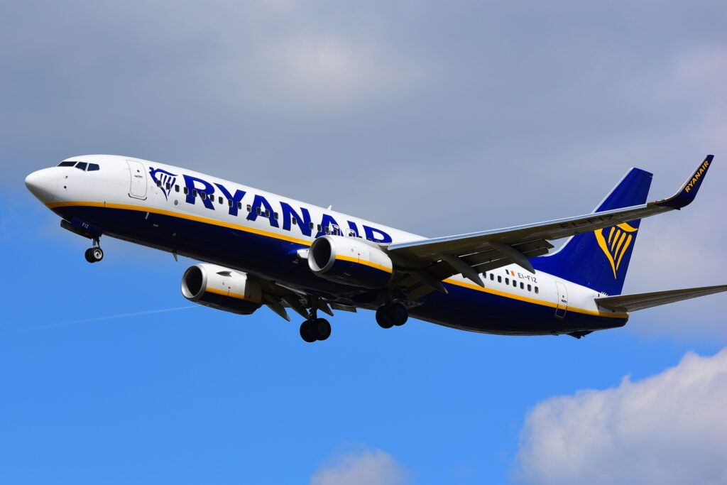 A plane from Ryanair.