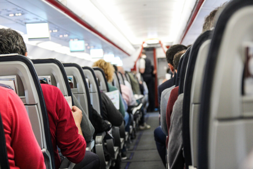A plane full of people.