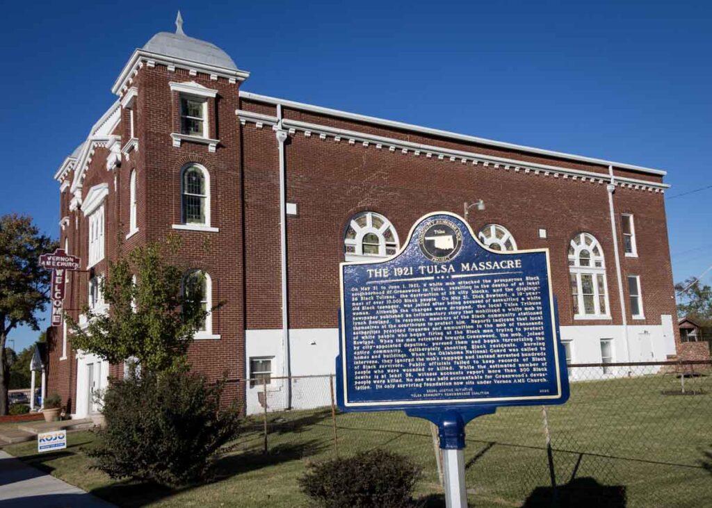 A plaque about the Tulsa Race Riot at Vernon Avenue Church.
